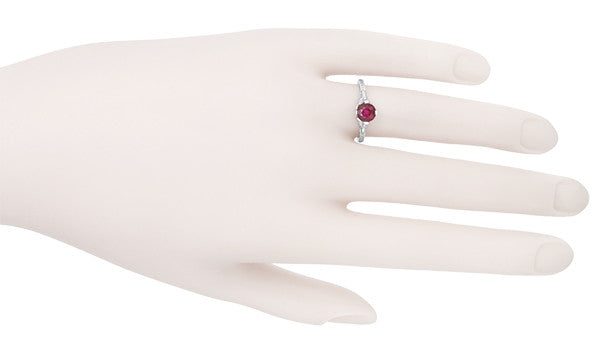 Carved Flowers Filigree Art Deco Ruby Promise Ring in Sterling Silver | Antique Inspired - Item: SSR356R - Image: 6