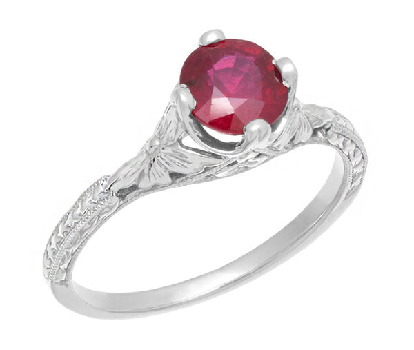 Carved Flowers Filigree Art Deco Ruby Promise Ring in Sterling Silver | Antique Inspired - Item: SSR356R - Image: 1