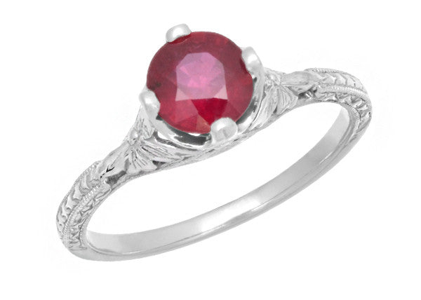 Carved Flowers Filigree Art Deco Ruby Promise Ring in Sterling Silver | Antique Inspired