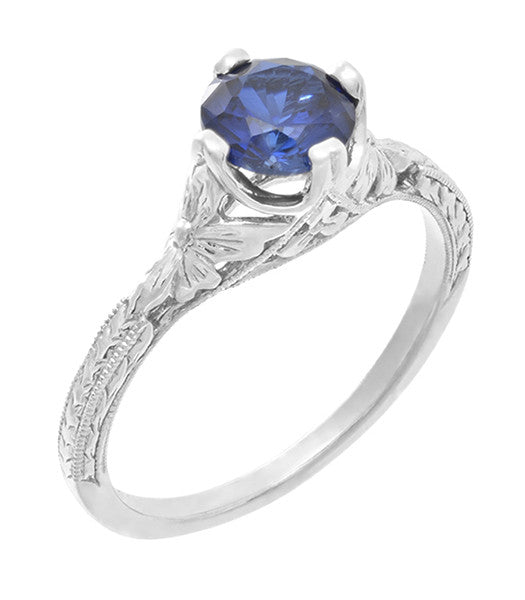 Art Deco Floral Filigree Lab Created Blue Sapphire Promise Ring in Sterling Silver - Item: SSR356S - Image: 2