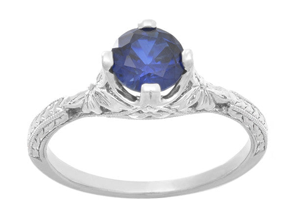 Art Deco Floral Filigree Lab Created Blue Sapphire Promise Ring in Sterling Silver - Item: SSR356S - Image: 3