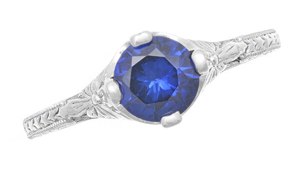 Art Deco Floral Filigree Lab Created Blue Sapphire Promise Ring in Sterling Silver - Item: SSR356S - Image: 4
