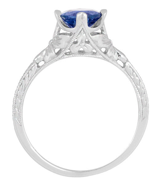 Art Deco Floral Filigree Lab Created Blue Sapphire Promise Ring in Sterling Silver - Item: SSR356S - Image: 5
