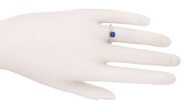 Art Deco Floral Filigree Lab Created Blue Sapphire Promise Ring in Sterling Silver - Item: SSR356S - Image: 6