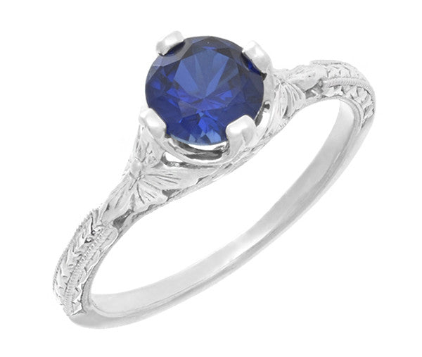 Art Deco Floral Filigree Lab Created Blue Sapphire Promise Ring in Sterling Silver - Item: SSR356S - Image: 1