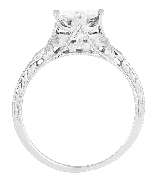 Engraved Flowers Art Deco Filigree White Topaz Promise Ring in Sterling Silver - Item: SSR356WT - Image: 2