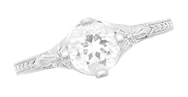 Engraved Flowers Art Deco Filigree White Topaz Promise Ring in Sterling Silver - Item: SSR356WT - Image: 3