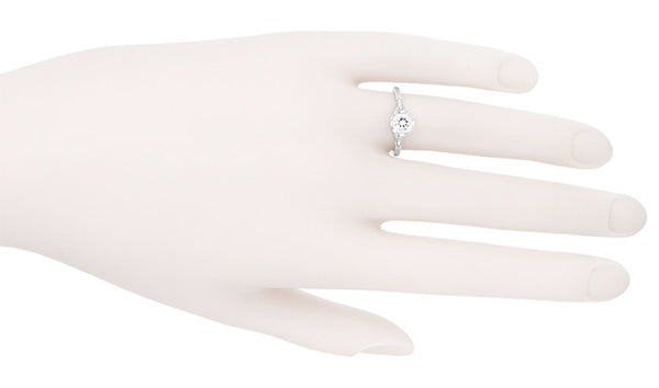 Engraved Flowers Art Deco Filigree White Topaz Promise Ring in Sterling Silver - Item: SSR356WT - Image: 4