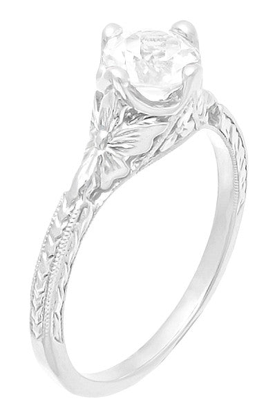 Engraved Flowers Art Deco Filigree White Topaz Promise Ring in Sterling Silver - Item: SSR356WT - Image: 1