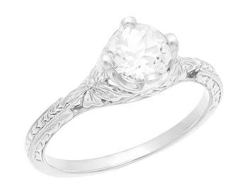 Engraved Flowers Art Deco Filigree White Topaz Promise Ring in Sterling Silver