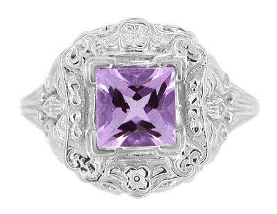 Art Nouveau Princess Cut Amethyst Ring in Sterling Silver - Item: SSR615AM - Image: 2