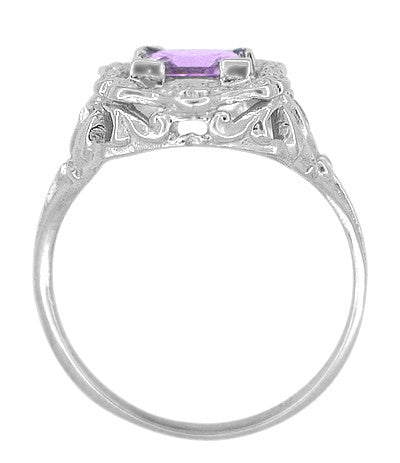 Art Nouveau Princess Cut Amethyst Ring in Sterling Silver - Item: SSR615AM - Image: 4