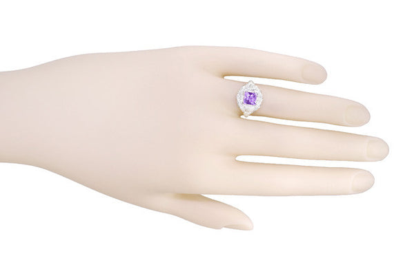 Art Nouveau Princess Cut Amethyst Ring in Sterling Silver - Item: SSR615AM - Image: 5