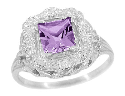 Art Nouveau Princess Cut Amethyst Ring in Sterling Silver - Item: SSR615AM - Image: 1