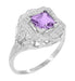 Art Nouveau Princess Cut Amethyst Ring in Sterling Silver