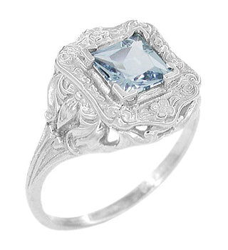Princess Cut Sky Blue Topaz Art Nouveau Ring in Sterling Silver