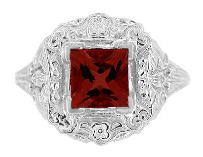 Princess Cut Garnet Art Nouveau Promise Ring in Sterling Silver - Item: SSR615G - Image: 4