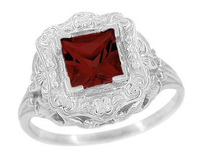 Princess Cut Garnet Art Nouveau Promise Ring in Sterling Silver - Item: SSR615G - Image: 1