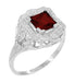 Princess Cut Garnet Art Nouveau Promise Ring in Sterling Silver