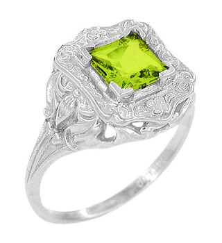 Art Nouveau Princess Cut Peridot Ring in Sterling Silver
