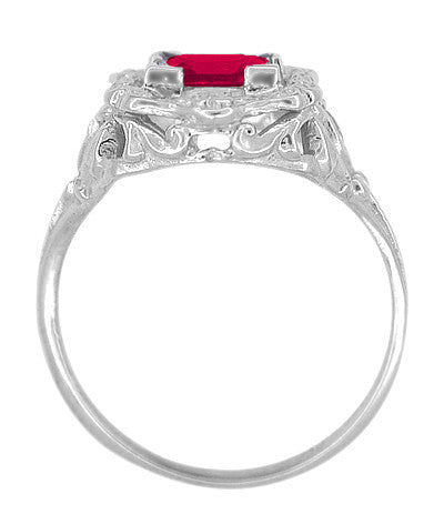 Princess Cut Ruby Art Nouveau Ring in Sterling Silver - Item: SSR615R - Image: 3