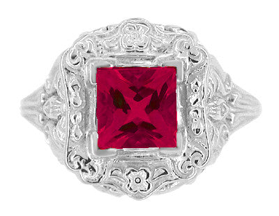 Princess Cut Ruby Art Nouveau Ring in Sterling Silver - Item: SSR615R - Image: 4