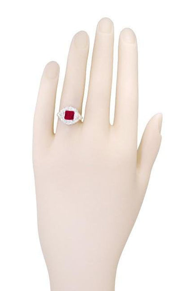 Princess Cut Ruby Art Nouveau Ring in Sterling Silver - Item: SSR615R - Image: 5