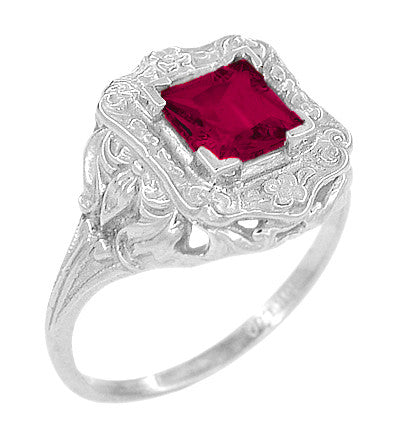 Princess Cut Ruby Art Nouveau Ring in Sterling Silver - Item: SSR615R - Image: 1