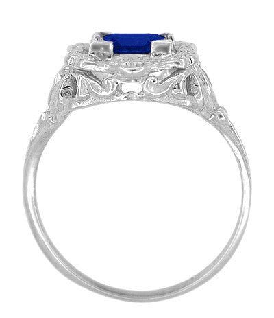 Art Nouveau Princess Cut Sapphire Ring in Sterling Silver - Item: SSR615S - Image: 3