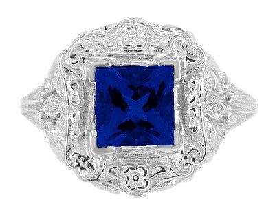 Art Nouveau Princess Cut Sapphire Ring in Sterling Silver - Item: SSR615S - Image: 4