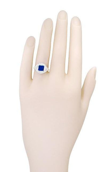 Art Nouveau Princess Cut Sapphire Ring in Sterling Silver - Item: SSR615S - Image: 5