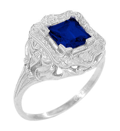 Art Nouveau Princess Cut Sapphire Ring in Sterling Silver - Item: SSR615S - Image: 1