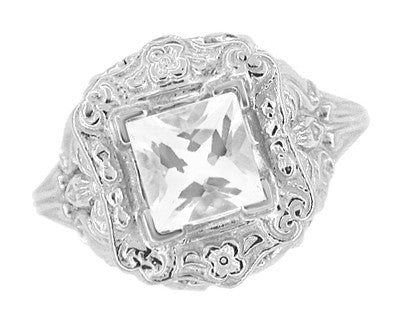 Art Nouveau Antique Style Square White Topaz Ring in Sterling Silver - Item: SSR615WT - Image: 2
