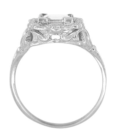 Art Nouveau Antique Style Square White Topaz Ring in Sterling Silver - Item: SSR615WT - Image: 4