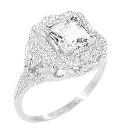 Art Nouveau Antique Style Square White Topaz Ring in Sterling Silver - Item: SSR615WT - Image: 1