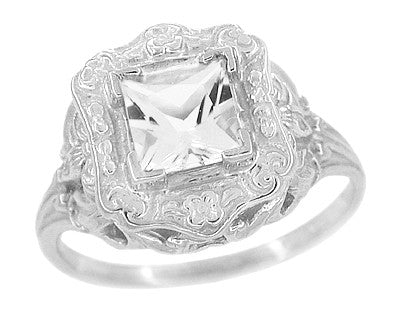 Art Nouveau Antique Style Square White Topaz Ring in Sterling Silver