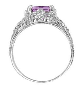 Edwardian Filigree Emerald Cut Amethyst Ring in Sterling Silver - Item: SSR618AM - Image: 3
