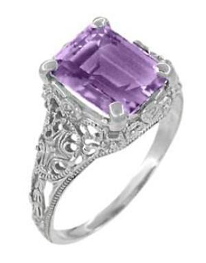 Edwardian Filigree Emerald Cut Amethyst Ring in Sterling Silver - Item: SSR618AM - Image: 1