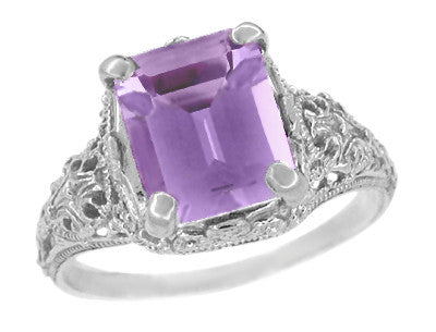 Edwardian Filigree Emerald Cut Amethyst Ring in Sterling Silver