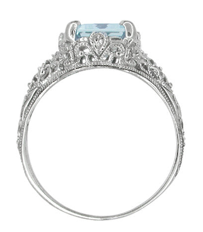 Edwardian Filigree Emerald Cut Blue Topaz Ring in Sterling Silver - Item: SSR618BT - Image: 3
