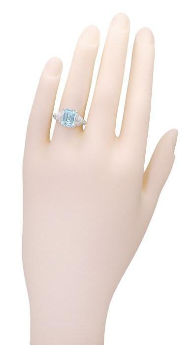 Vintage Style 1.86 Ct Emerald Cut Blue Topaz Filigree Sterling Silver Ring