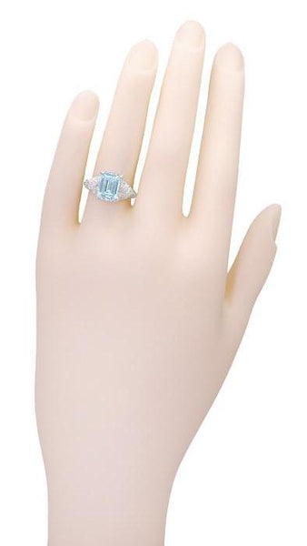 Edwardian Filigree Emerald Cut Blue Topaz Ring in Sterling Silver - Item: SSR618BT - Image: 4