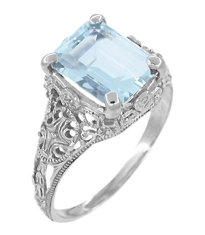 Edwardian Filigree Emerald Cut Blue Topaz Ring in Sterling Silver - Item: SSR618BT - Image: 1