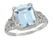 Edwardian Filigree Emerald Cut Blue Topaz Ring in Sterling Silver