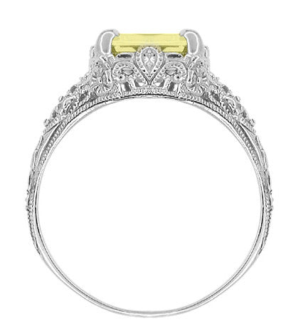 Edwardian Filigree Yellow Lemon Quartz Ring in Sterling Silver - Item: SSR618LQ - Image: 3