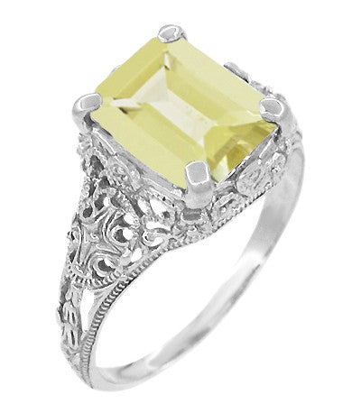Edwardian Filigree Yellow Lemon Quartz Ring in Sterling Silver - Item: SSR618LQ - Image: 1