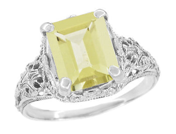 Edwardian Filigree Yellow Lemon Quartz Ring in Sterling Silver