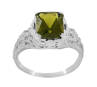 Edwardian Filigree Radiant Cut Olive Green Peridot Ring in Sterling Silver | 3.5 Carats - Item: SSR618PER - Image: 2