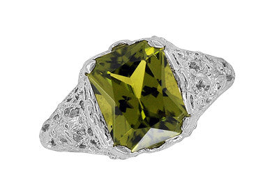 Edwardian Filigree Radiant Cut Olive Green Peridot Ring in Sterling Silver | 3.5 Carats - Item: SSR618PER - Image: 3