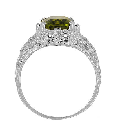 Edwardian Filigree Radiant Cut Olive Green Peridot Ring in Sterling Silver | 3.5 Carats - Item: SSR618PER - Image: 4